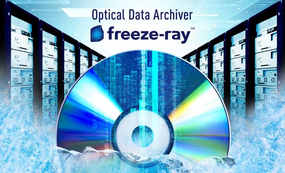 """Panasonic revela el sistema archivador de datos mejorado serie """"freeze-ray"""" que utiliza discos ópticos de 300 GB"""