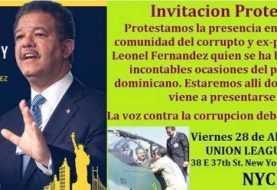 Dominicanos convocan protesta de rechazo a Leonel en Nueva York
