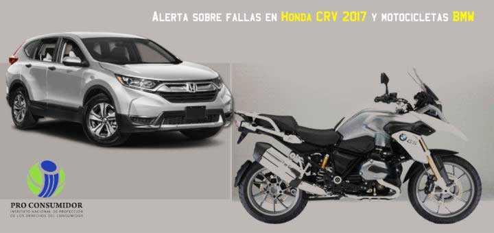 ProConsumidor alerta por yipetas Honda CRV y motos BMW con problemas