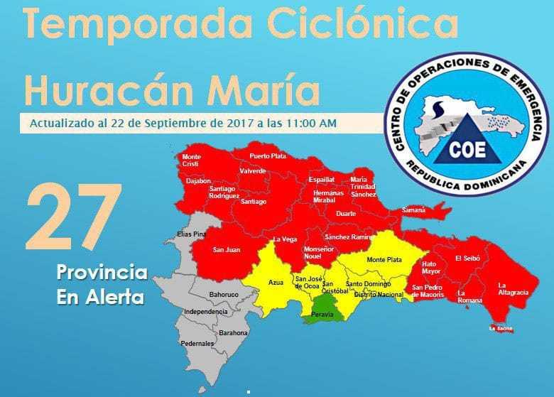 COE mantiene en alerta roja a 20 provincias