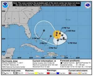 Pronostican alarmante giro del huracán José en dirección a Florida y Bahamas
