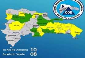 COE mantiene en alerta verde y amarilla 18 provincias de RD