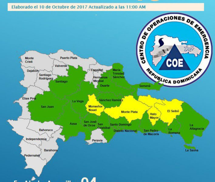 COE mantiene en alerta 18 provincias por lluvias