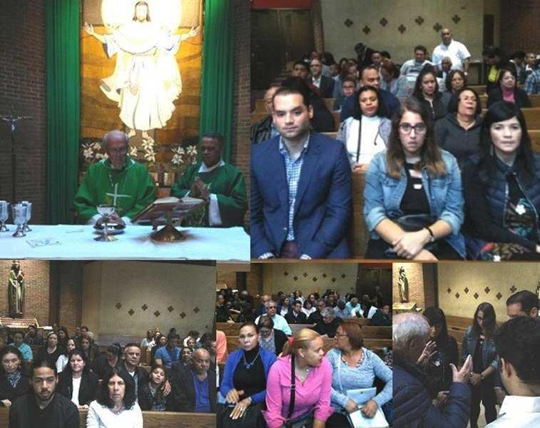 Dominicanos acuden a misa por salud César Medina en NY