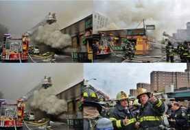 Fuego destruye comercios en el Alto Manhattan