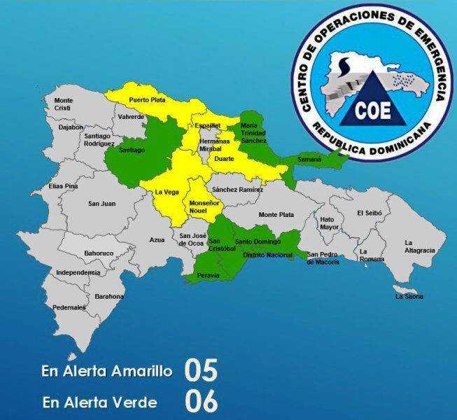 COE aumenta a 11 provincias bajo alerta