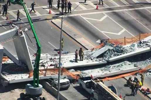 Confirman 6 muertos en colapso de puente peatonal en Florida