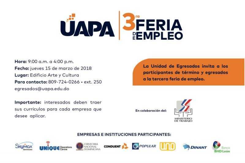 UAPA desarrollará feria de empleos