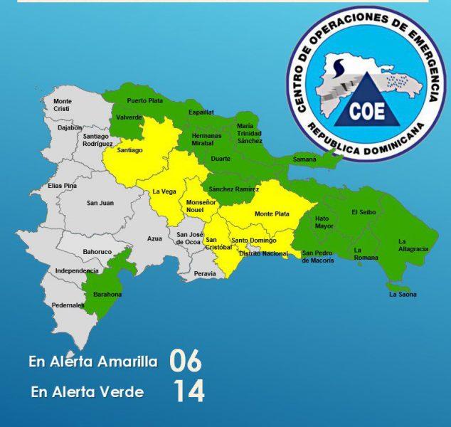Onamet y COE mantienen avisos y alertas por lluvias
