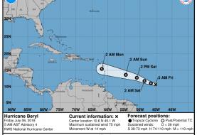 Beryl se convierte en el primer huracán de la temporada