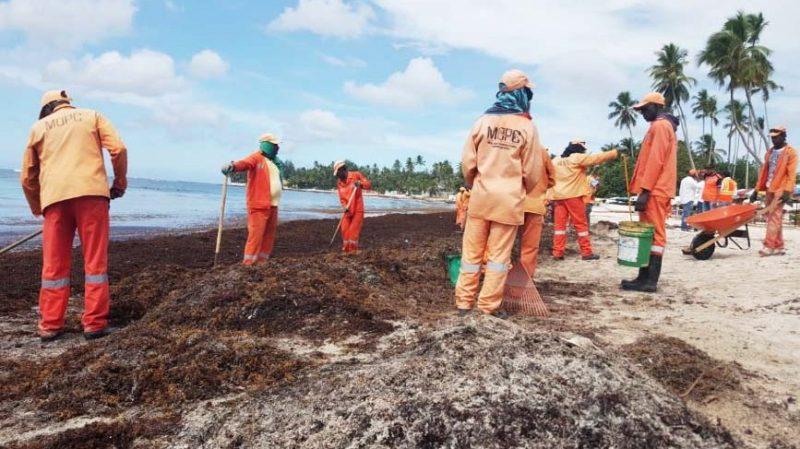 Retiran toneladas de sargazo en playas de la región Este
