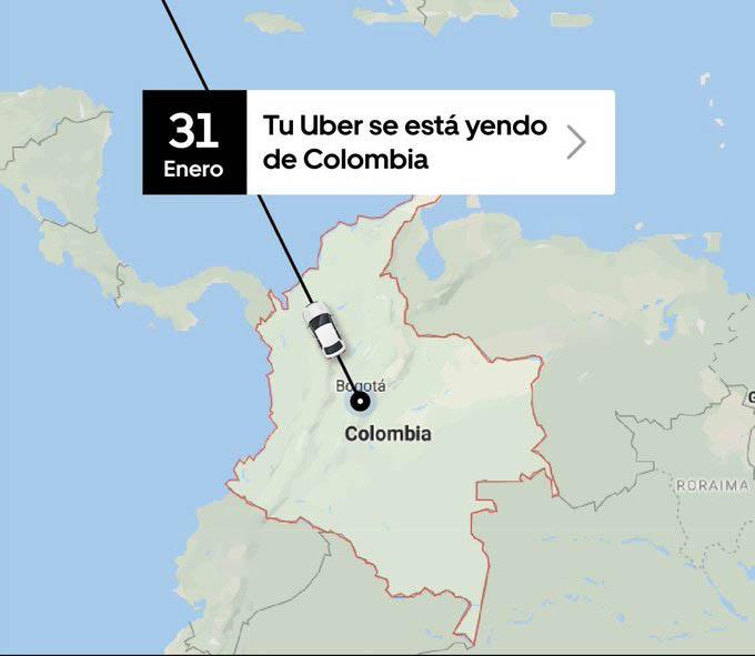 Uber deja de funcionar en Colombia
