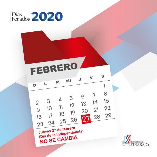 """27 de febrero """"Día de la Independencia"""" no se labora"""