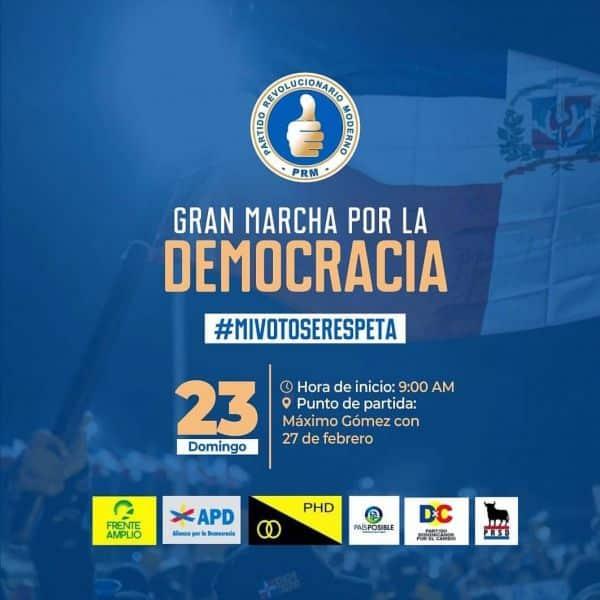 Partidos cambian ruta a marcha de este domingo