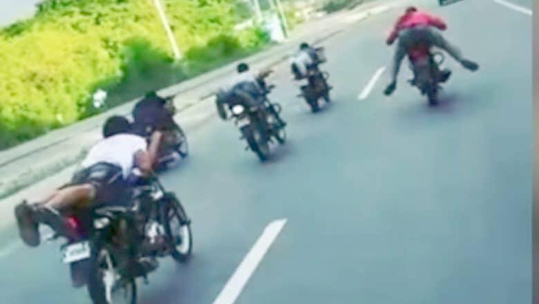 8 apresados en carrera ilegal de motocicletas