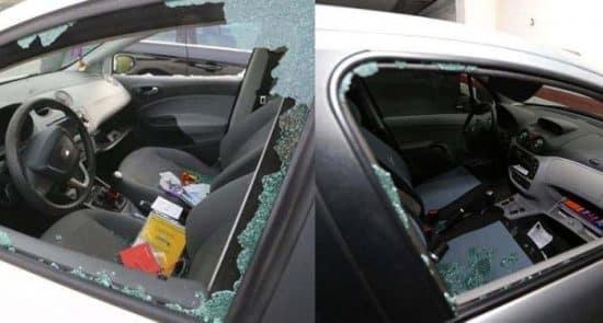 vehiculo con los cristales rotos alto manhattan