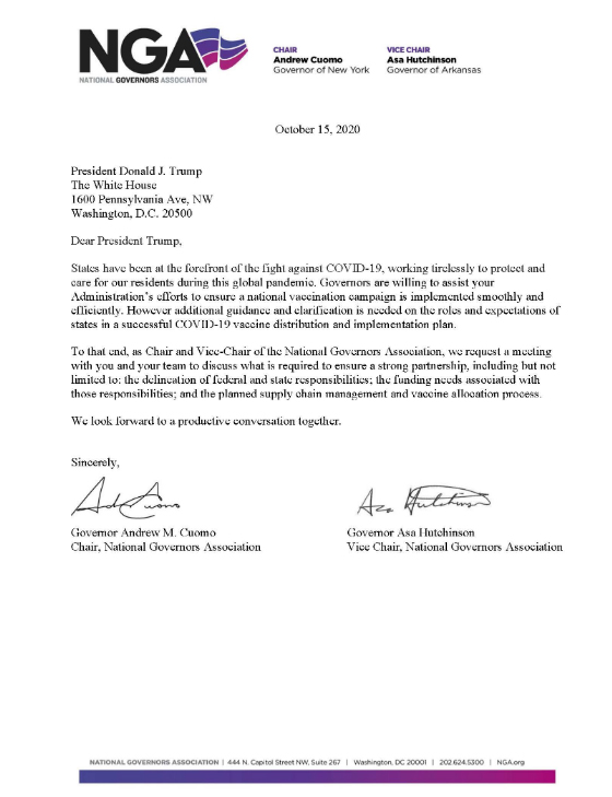 carta gobernadores
