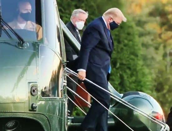 Presidente Trump llegando al hospital