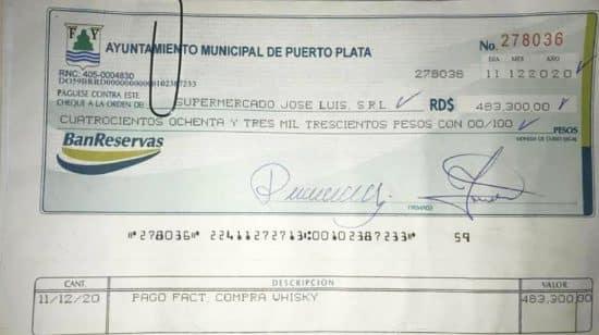 cheque alcaldía de Puerto Plata